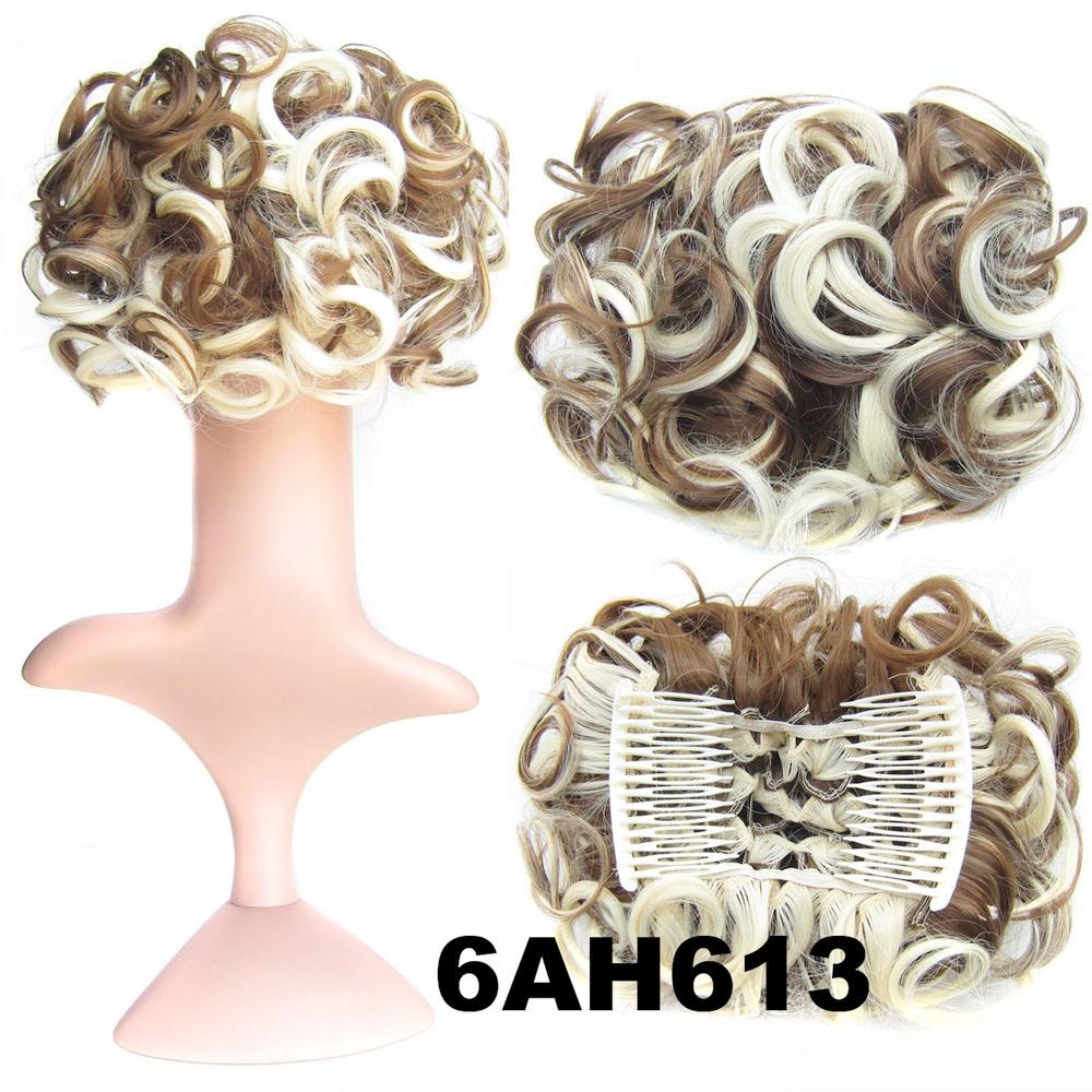 Romantický příčesek - drdol - 6AH613 (melír nugátově hnědé v beach blond)
