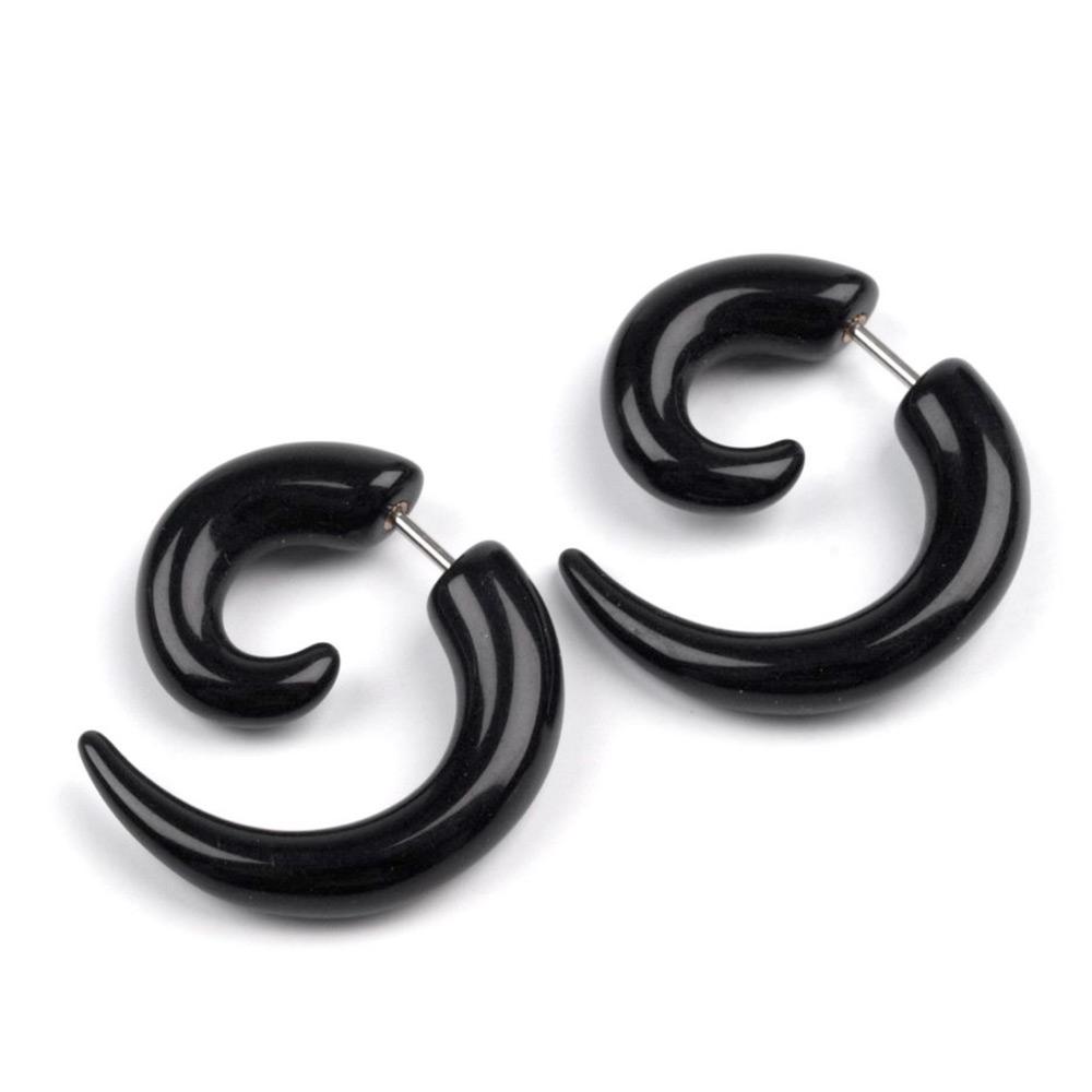 V&V Náušnice falešný roztahovák - černá barva