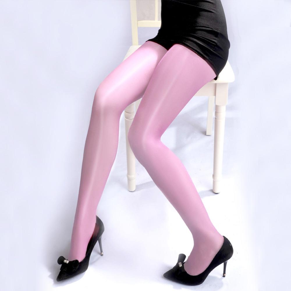 V&V Dámské barevné punčochy - olejový lesk - růžová barva