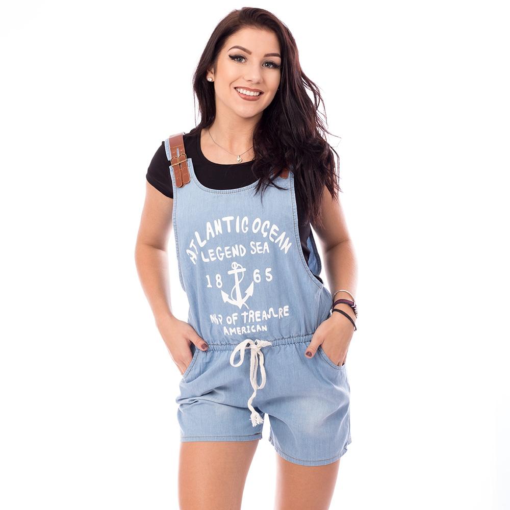 005a1097ff58 Dámská móda a doplňky - Dámský krátký jeans overal - světle modrý ...