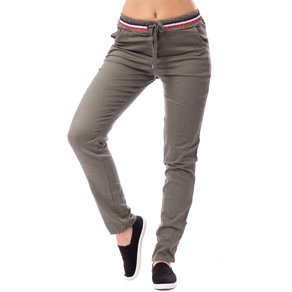 V&V Dámské plátěné kalhoty - khaki zelené