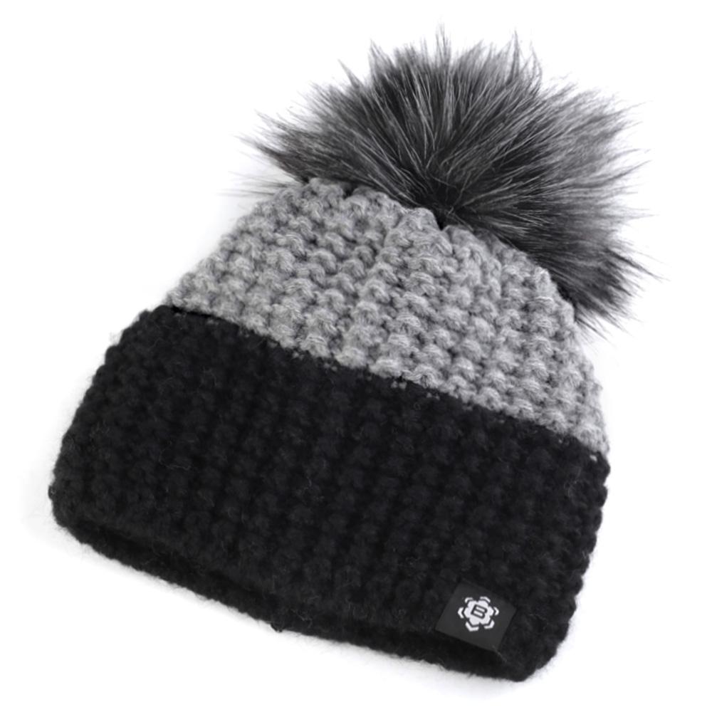 891e49bf086 Dámská móda a doplňky - Zimní pletená čepice s bambulí - černošedá