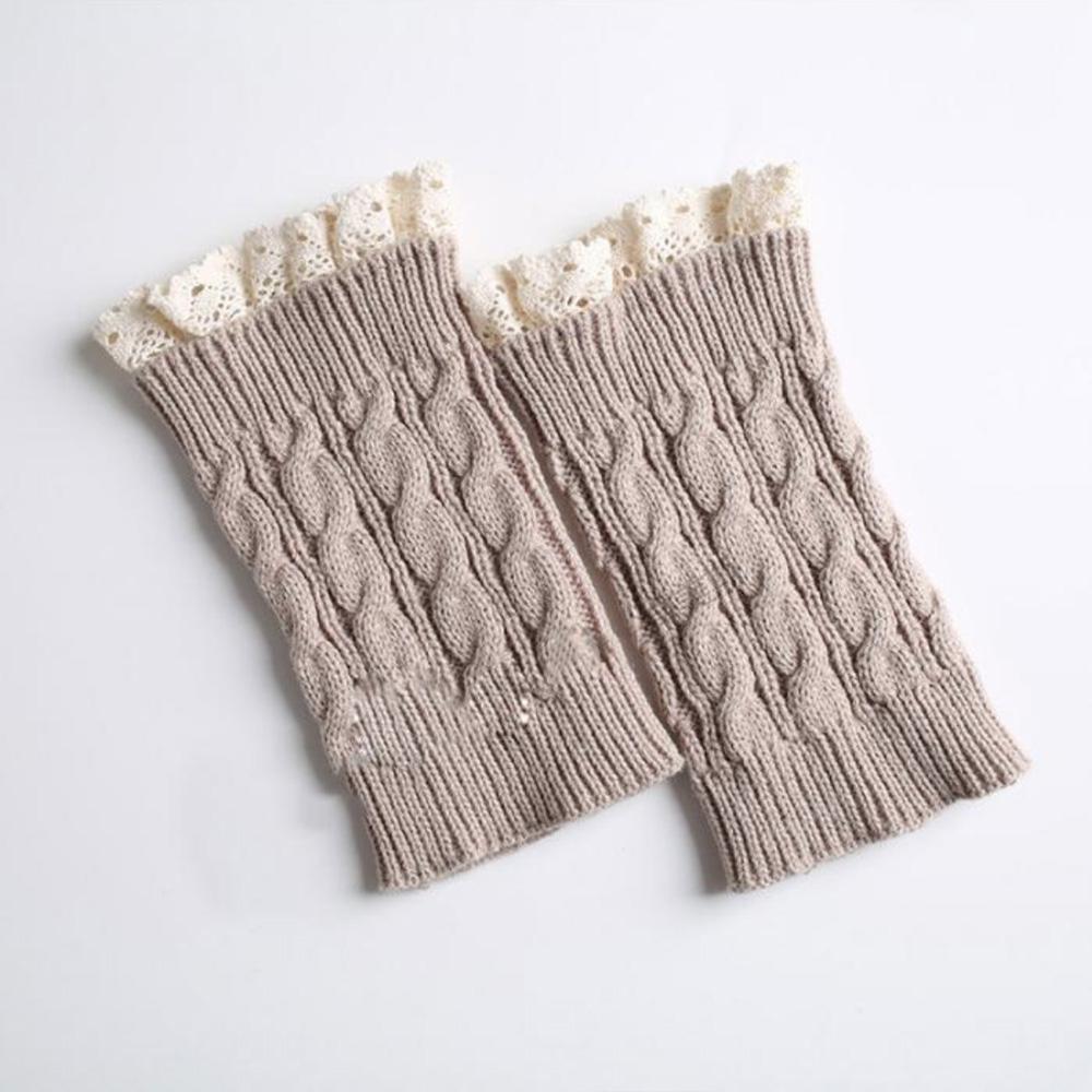 V&V Pletené návleky na nohy s krajkou - 18 cm - béžová barva
