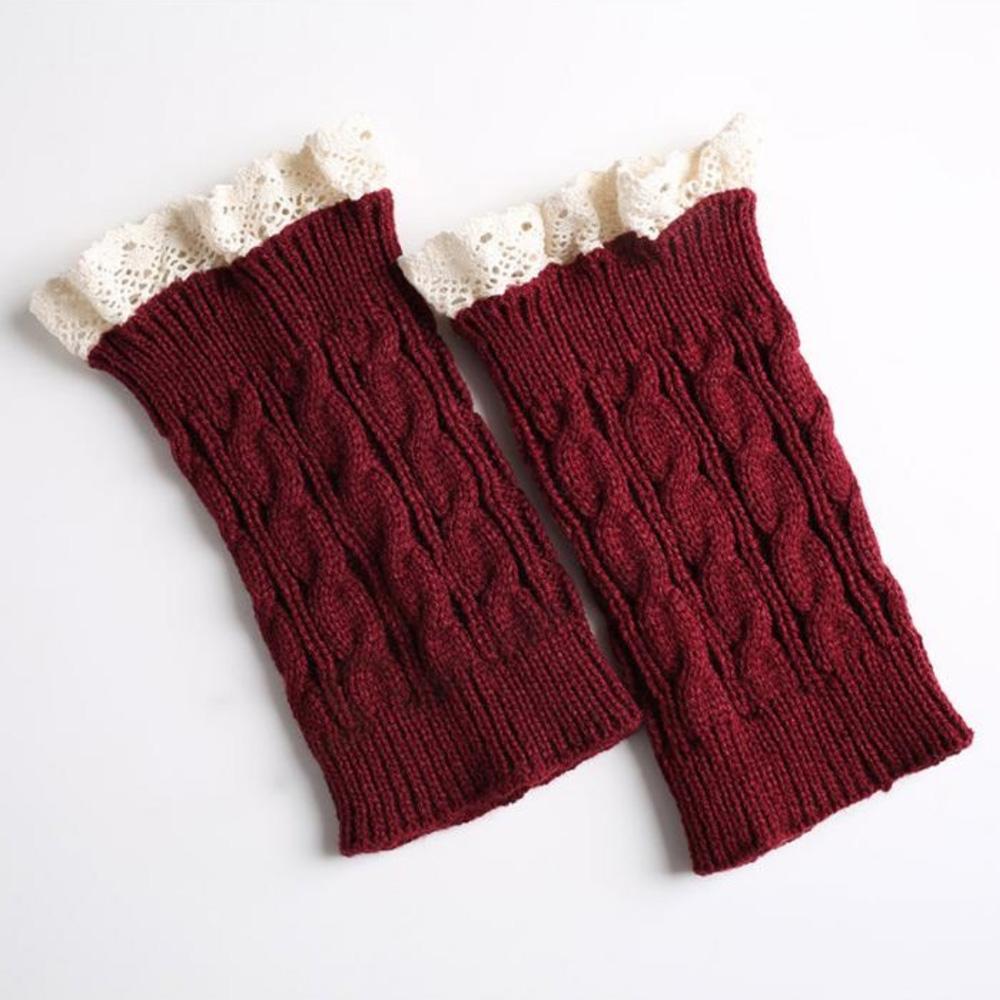 V&V Pletené návleky na nohy s krajkou - 18 cm - vínová barva