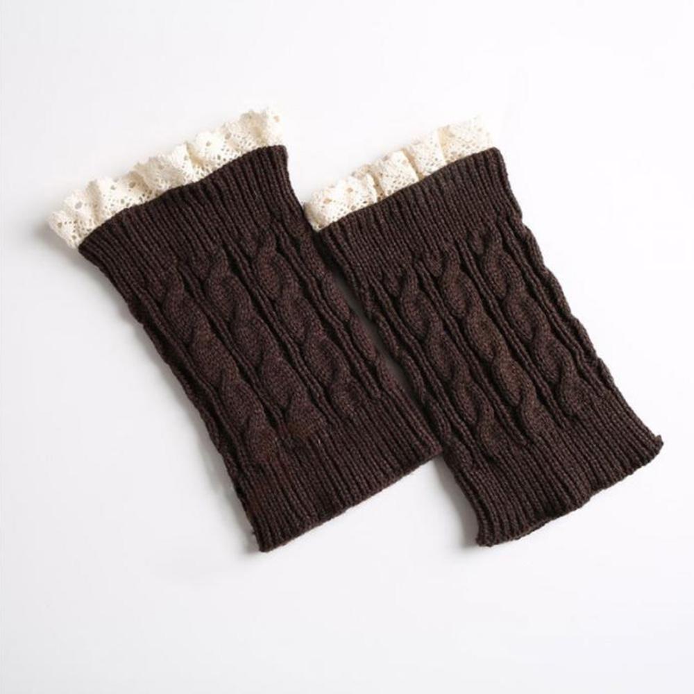 V&V Pletené návleky na nohy s krajkou - 18 cm - hnědá barva