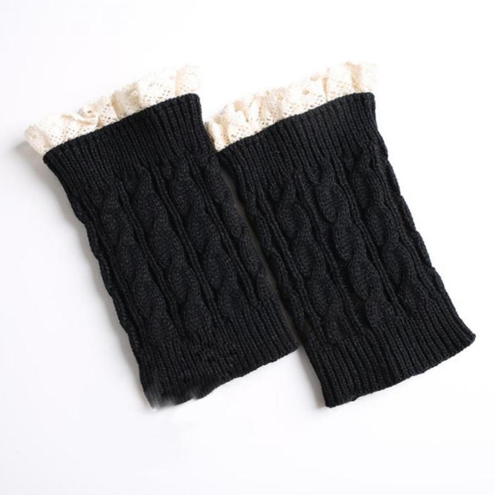 V&V Pletené návleky na nohy s krajkou - 18 cm - černá barva