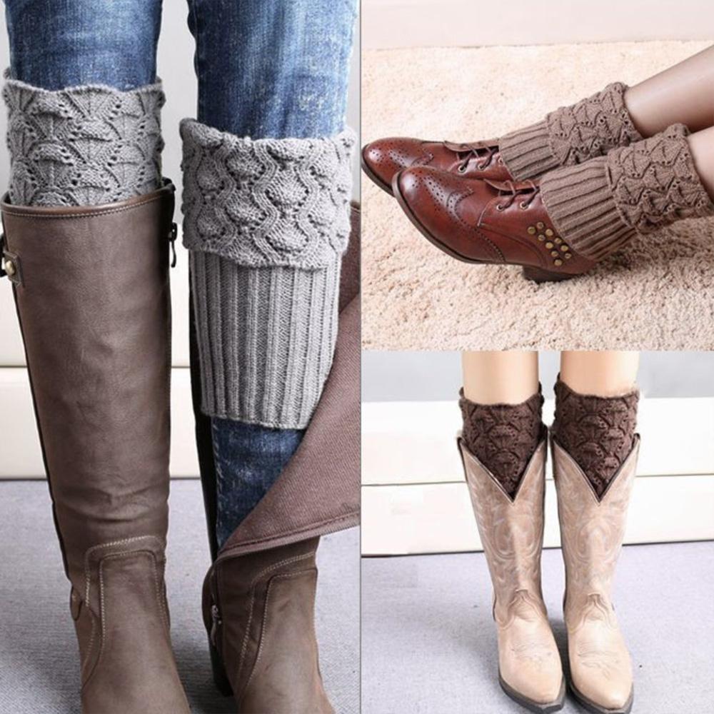 V&V Pletené návleky na nohy do kozaček 2 v 1 - béžová barva