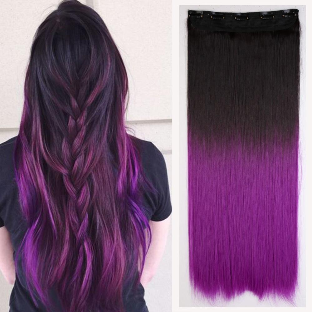 Clip in vlasy - rovný pás - ombre - odstín 2/30 T Purple - odstín 2 T Purple