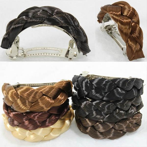 Elegantní spona do vlasů s pletenými vlasy - 33 (tmavý kaštan)