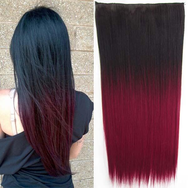 Clip in vlasy - 60 cm dlouhý pás vlasů - ombre styl - odstín 2 T Burg