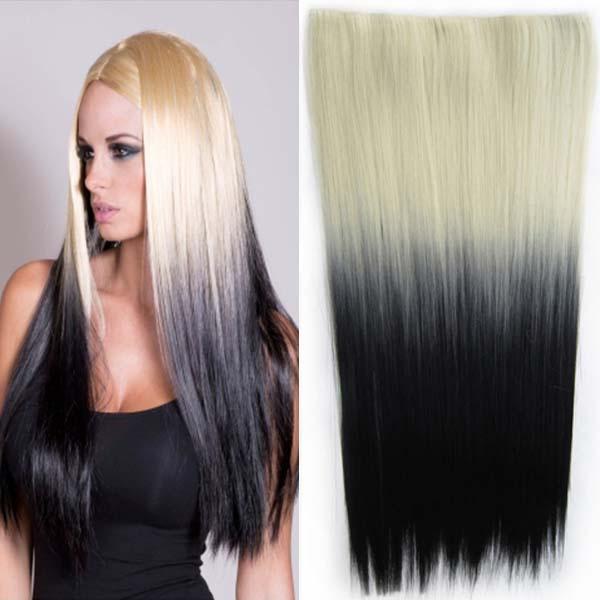 Clip in vlasy - 60 cm dlouhý pás vlasů - ombre styl - odstín 613 T Black