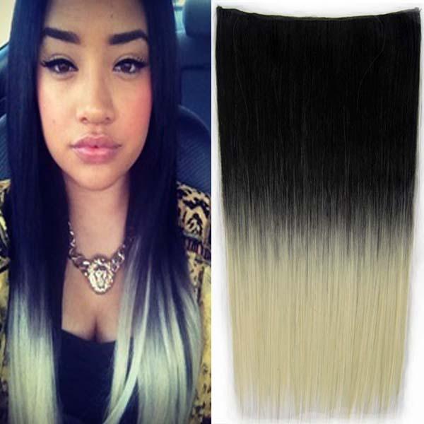 Clip in vlasy - 60 cm dlouhý pás vlasů - ombre styl - odstín Black T 613