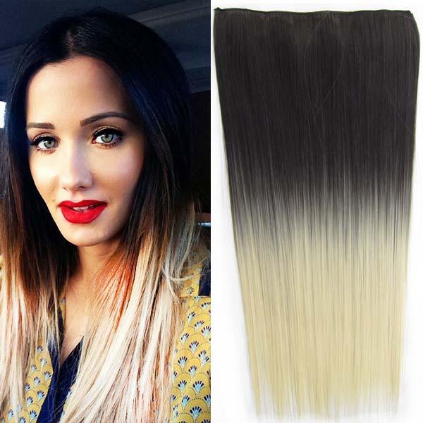 Clip in vlasy - 60 cm dlouhý pás vlasů - ombre styl - odstín 2 T 613