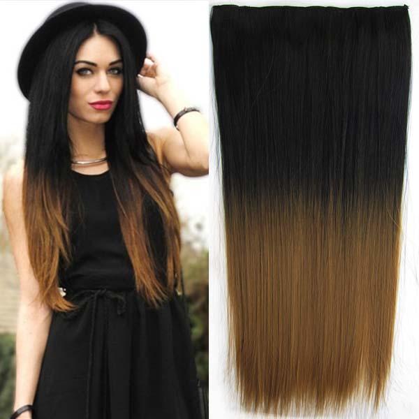 Clip in vlasy - 60 cm dlouhý pás vlasů - ombre styl - odstín Black T 27