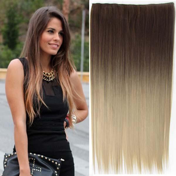 Clip in vlasy 60 cm dlouhý pás - OMBRE STYL HNĚDÁ - SVĚTLE PLAVÁ 10T16 - odstín 10 T 16