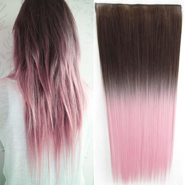 Světové zboží Clip in vlasy - rovný pás - ombre - odstín 8 T Light Pink - odstín 8 T Light Pink