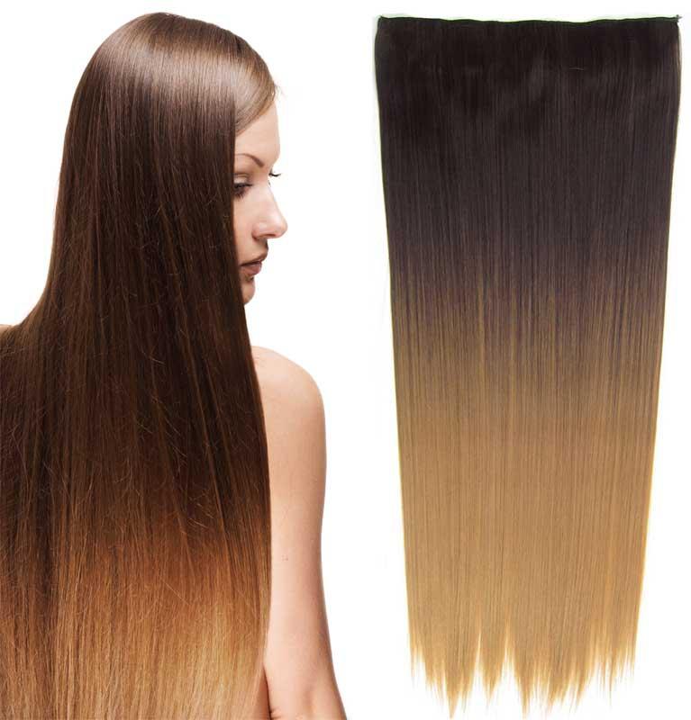 Světové zboží Clip in vlasy - rovný pás - ombre - odstín 4 T 27 - odstín 4 T 27