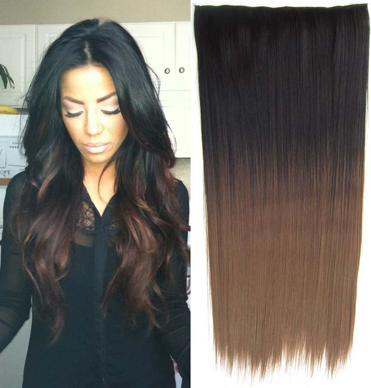 Clip in vlasy - 60 cm dlouhý pás vlasů - ombre styl - odstín Black T 8