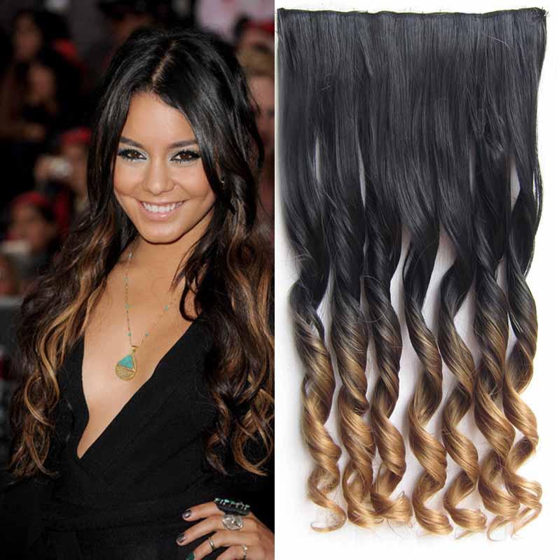 Clip in pás vlasů - lokny 55 cm - ombre odstín - odstín Black T 27