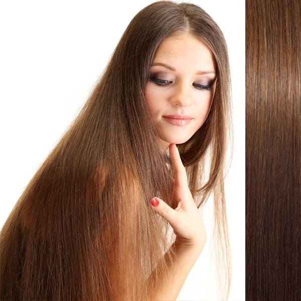 Světové zboží Clip in vlasy 100% lidské – Remy 105 g - pás vlasů - 8 - středně hnědá - 8 (světle hnědá)