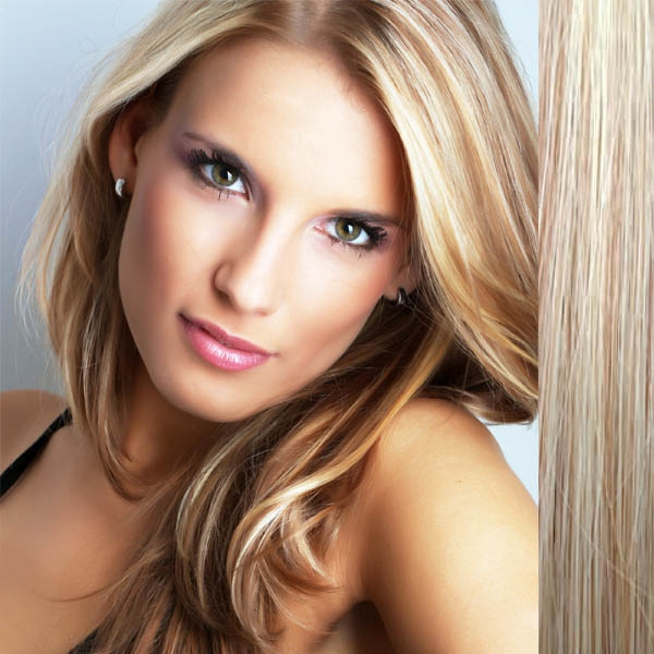 Světové zboží Clip in vlasy 100% lidské – Remy 125 g - pás vlasů - odstín 27/613 - mix blond - odstín 27/613