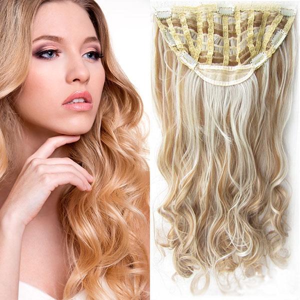 Clip in Jessica 60 cm vlnitý pás - 27/613 - mix blond - F27/613 (melír karamelové v beach blond)