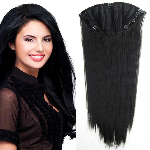 Clip in pás - Jessica 65 cm rovný - 1B - černý - 1B (černá)