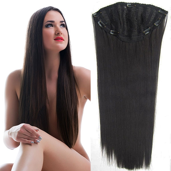Clip in pás - Jessica 65 cm rovný - 2 - černohnědý