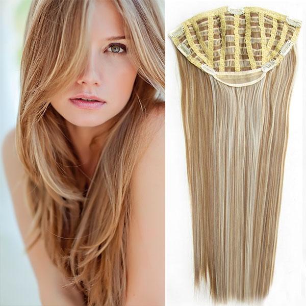Clip in pás - Jessica 65 cm rovný - 27/613 - mix blond - F27/613 (melír karamelové v beach blond)