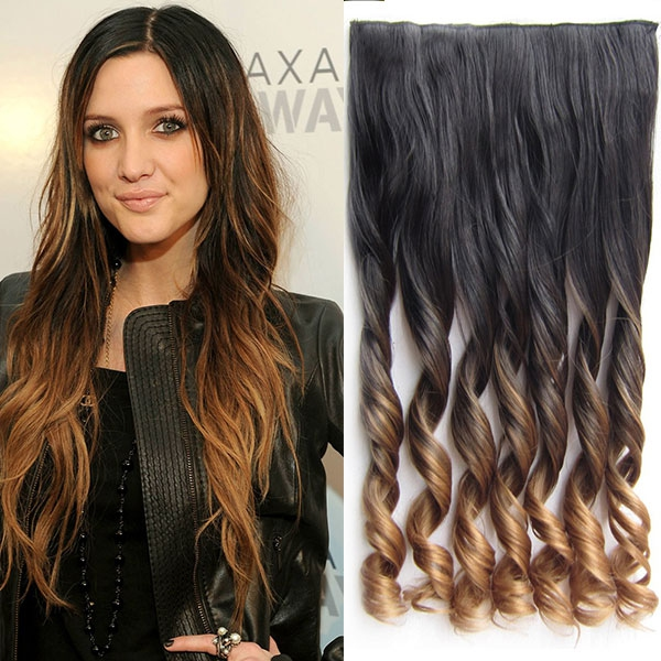 Clip in pás vlasů - lokny 55 cm - ombre - odstín 2 T 27