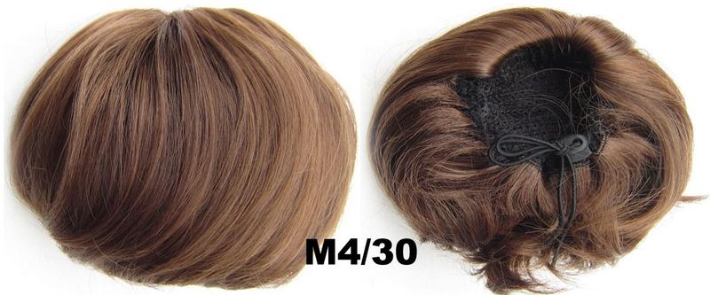 Příčesek - drdol á la Audrey Hepburn - M4/30 (mix čokoládově hnědá/světlý kaštan)