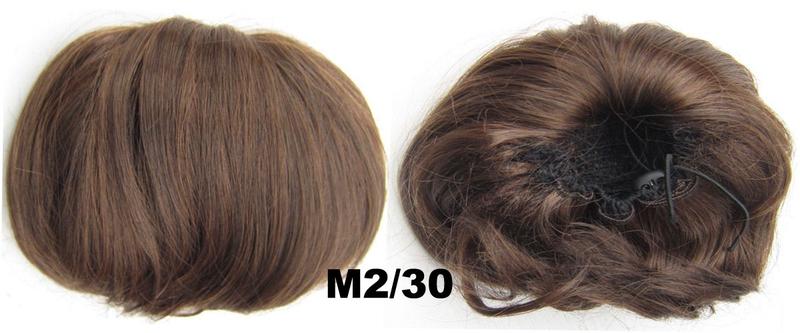 Příčesek - drdol á la Audrey Hepburn - M2/30 (mix tmavá pralinka/světlý kaštan)