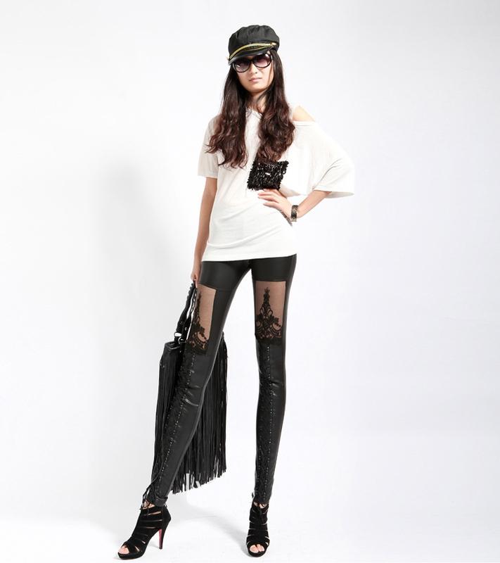... Dámská móda a doplňky - Legíny - vzhled lesklá kůže Rihanna look s  krajkou ... cf242a6338