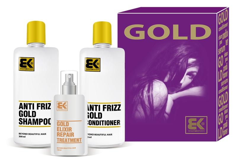 Brazil Keratin Gold šampon 300 ml + kondicionér 300 ml + olej / sérum 100 ml dárková sada