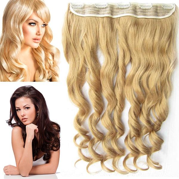 Clip in pás vlasů - vlnité lokny 55 cm - odstín - 25 (zlatavě plavá)