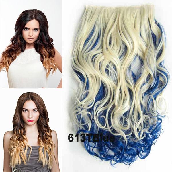 Clip in pás vlasů - lokny 55 cm - ombre odstín - odstín 613 T Blue
