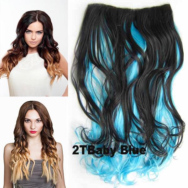 Clip in pás vlasů - lokny 55 cm - ombre odstín - odstín 27 T Baby Blue