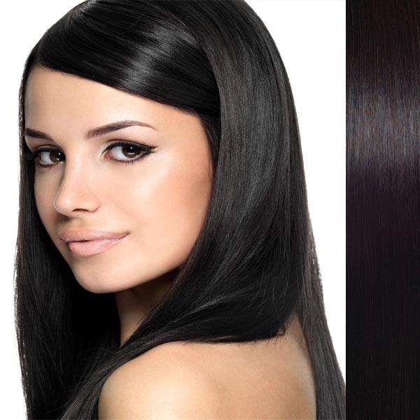 Světové zboží Clip in vlasy 100% lidské – Remy 105 g - pás vlasů - 1B - přírodní černá - 1B (černá)