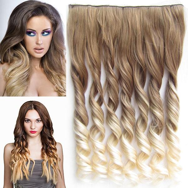 Clip in pás vlasů - lokny 55 cm - ombre - odstín 10 T 613