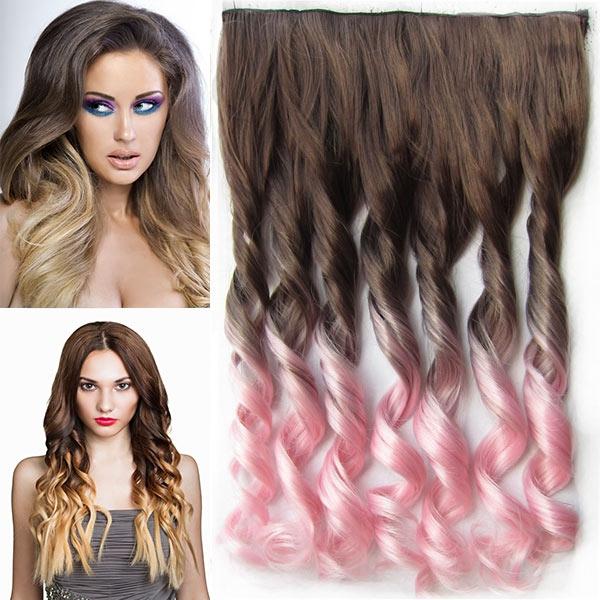 Clip in pás vlasů - lokny 55 cm - ombre - odstín 8 T Light Pink