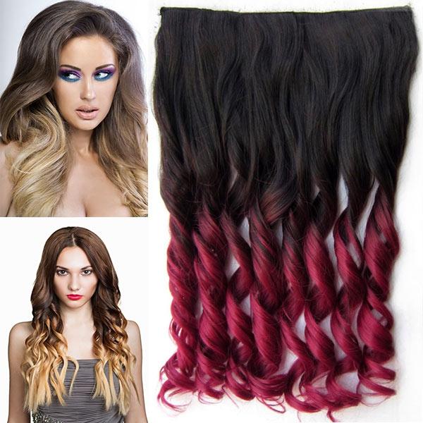Clip in pás vlasů - lokny 55 cm - ombre - odstín 2 T Burg