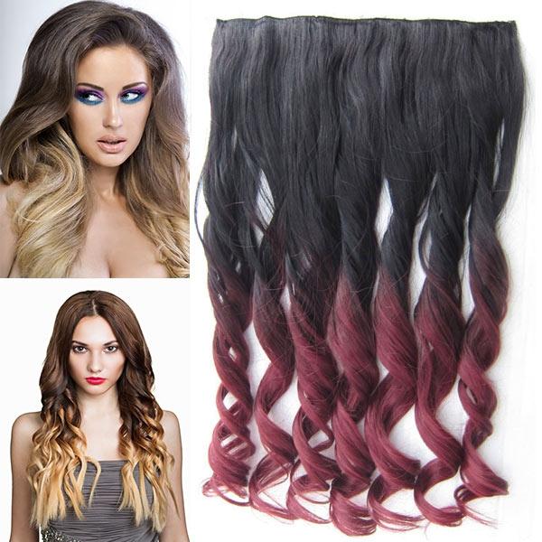 Clip in pás vlasů - lokny 55 cm - ombre - odstín 2 T 99J