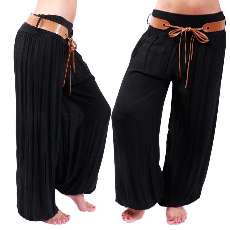 Černé, ležérní harémové kalhoty s hnědým páskem