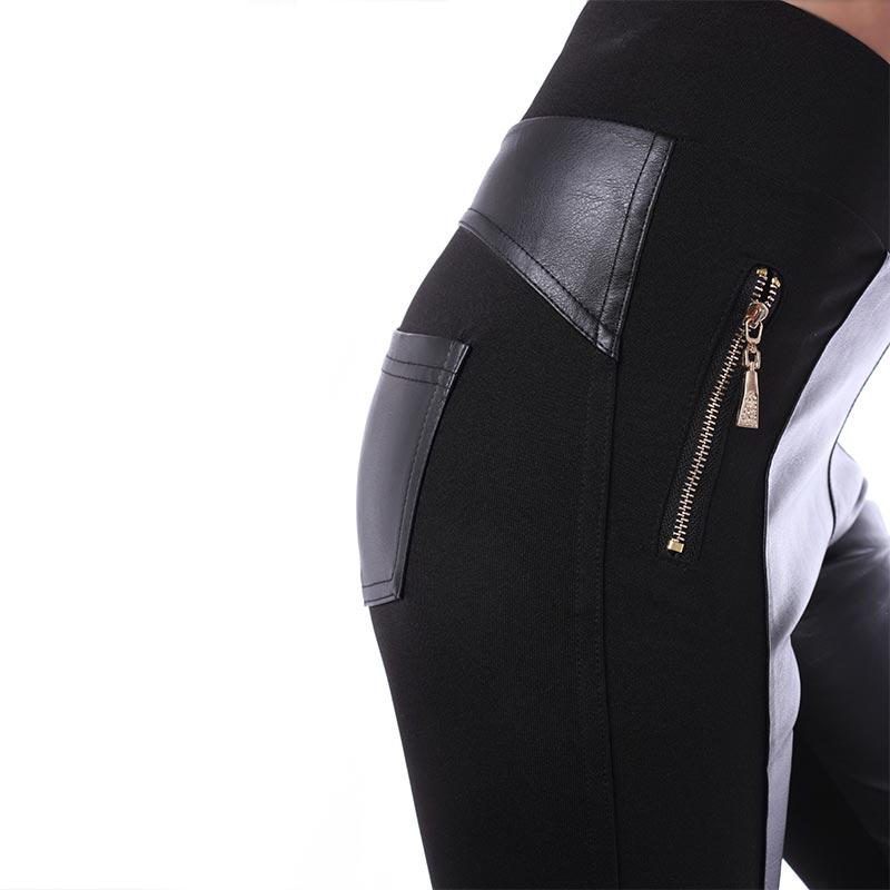 888745d3960 ... Dámská móda a doplňky - Dámské legínové kalhoty s lesklou kůží a kapsami