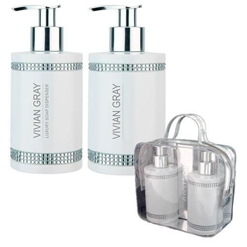 V&V Dárková sada VIVIAN GRAY CRYSTALS WHITE - tekuté mýdlo + tělové mléko 250 ml