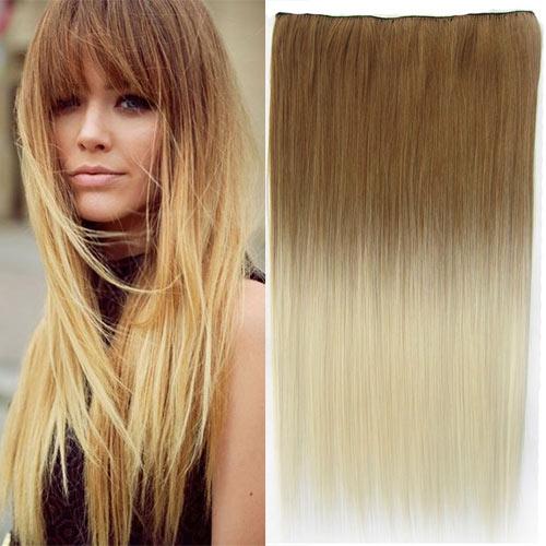 Clip in vlasy - 60 cm dlouhý pás vlasů - ombre styl - odstín 27 T 613