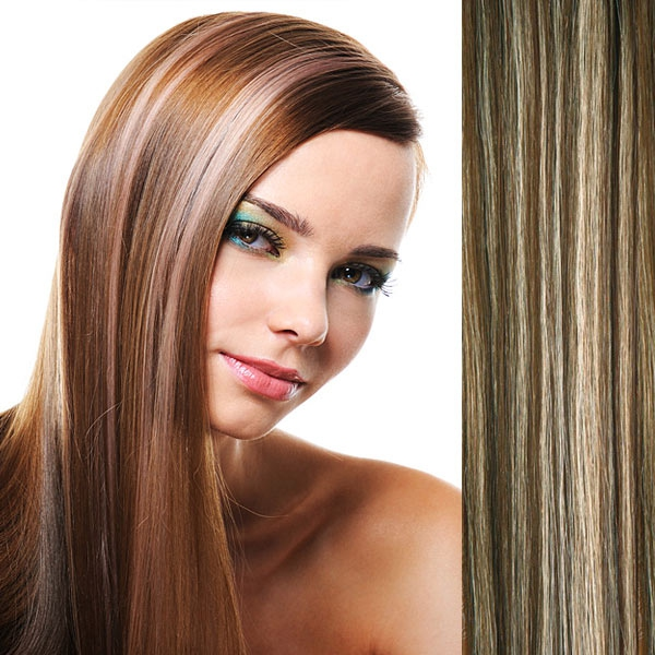 Clip in vlasy - sada DE-LUXE, 57 cm, odstín 4/613 - melír