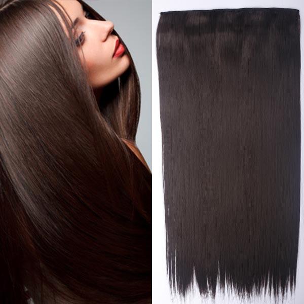 Clip in vlasy - 60 cm dlouhý pás vlasů - odstín 4 - tmavě hnědá