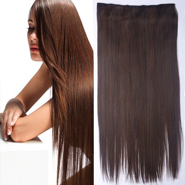 Clip in vlasy - 60 cm dlouhý pás vlasů - odstín - M2/30 (mix tmavá pralinka/světlý kaštan)