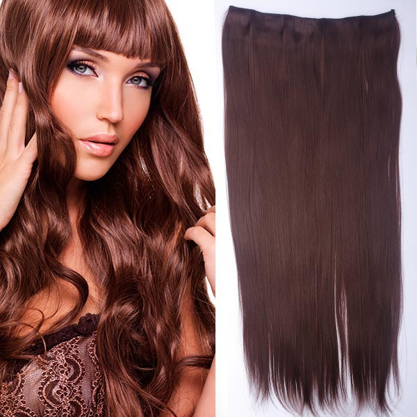 Clip in vlasy - 60 cm dlouhý pás vlasů - odstín - 33 (tmavý kaštan)